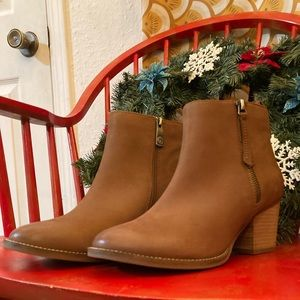 Brown suede, heeled booties by Blondo